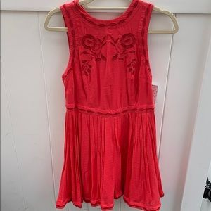 Coral High Neck Free People Dress